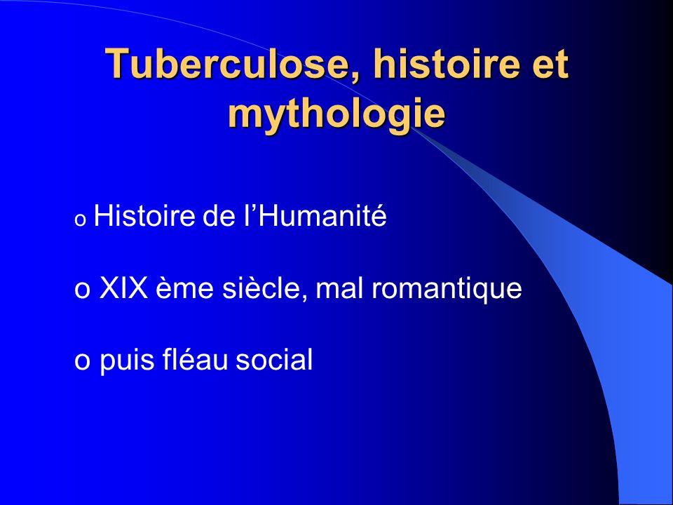 Tuberculose, histoire et mythologie o Histoire de lHumanité o XIX ème siècle, mal romantique o puis fléau social