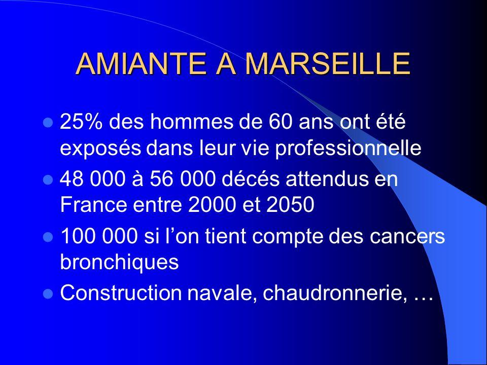 AMIANTE A MARSEILLE 25% des hommes de 60 ans ont été exposés dans leur vie professionnelle 48 000 à 56 000 décés attendus en France entre 2000 et 2050