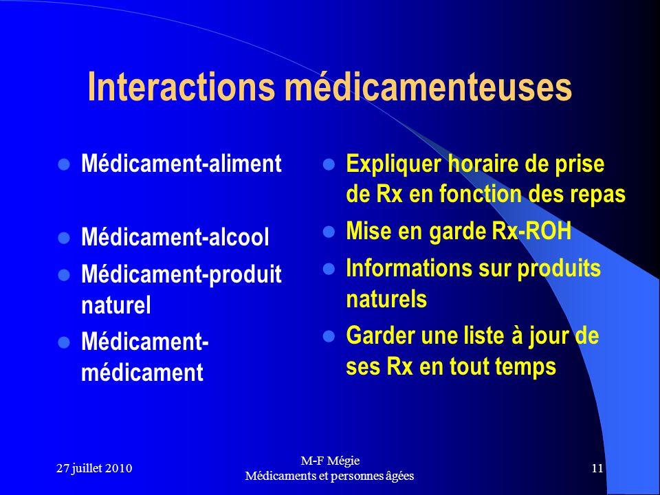 27 juillet 2010 M-F Mégie Médicaments et personnes âgées 11 Interactions médicamenteuses Médicament-aliment Médicament-alcool Médicament-produit natur