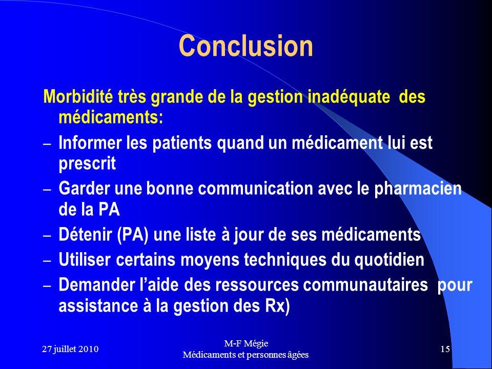 27 juillet 2010 M-F Mégie Médicaments et personnes âgées 15 Conclusion Morbidité très grande de la gestion inadéquate des médicaments: – Informer les