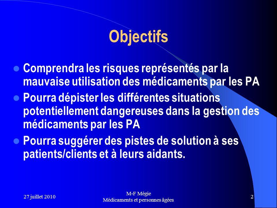 27 juillet 2010 M-F Mégie Médicaments et personnes âgées 2 Objectifs Comprendra les risques représentés par la mauvaise utilisation des médicaments pa