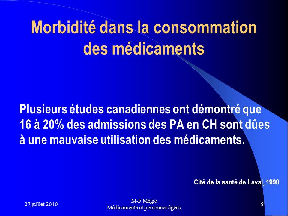 27 juillet 2010 M-F Mégie Médicaments et personnes âgées 5 Morbidité dans la consommation des médicaments Plusieurs études canadiennes ont démontré qu