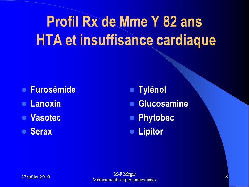 27 juillet 2010 M-F Mégie Médicaments et personnes âgées 6 Profil Rx de Mme Y 82 ans HTA et insuffisance cardiaque Furosémide Lanoxin Vasotec Serax Ty