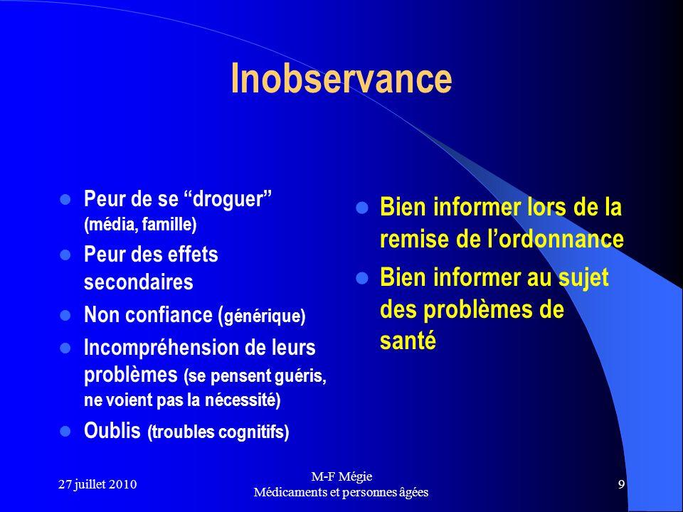 27 juillet 2010 M-F Mégie Médicaments et personnes âgées 9 Inobservance Peur de se droguer (média, famille) Peur des effets secondaires Non confiance