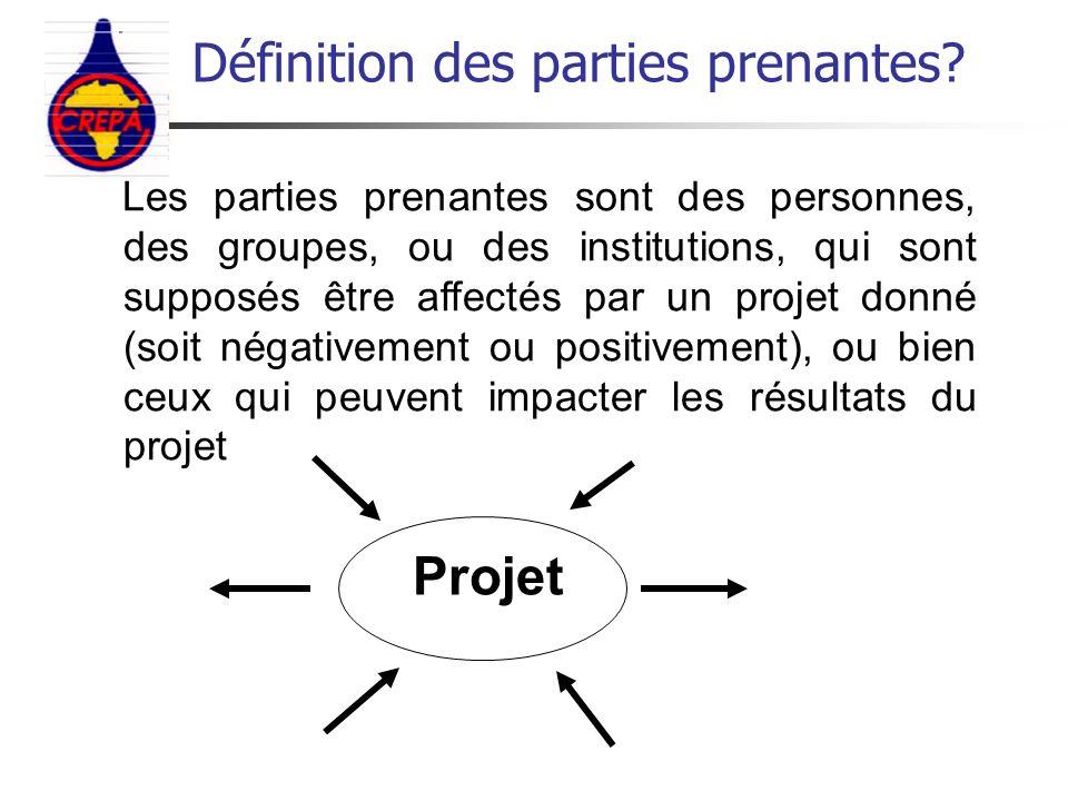 Les parties prenantes sont des personnes, des groupes, ou des institutions, qui sont supposés être affectés par un projet donné (soit négativement ou