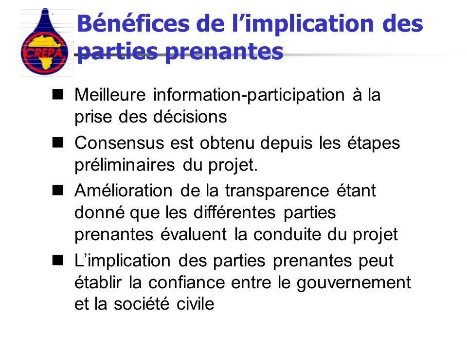 Meilleure information-participation à la prise des décisions Consensus est obtenu depuis les étapes préliminaires du projet. Amélioration de la transp