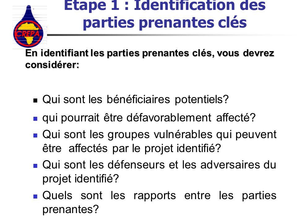 Etape 1 : Identification des parties prenantes clés Qui sont les bénéficiaires potentiels? qui pourrait être défavorablement affecté? Qui sont les gro