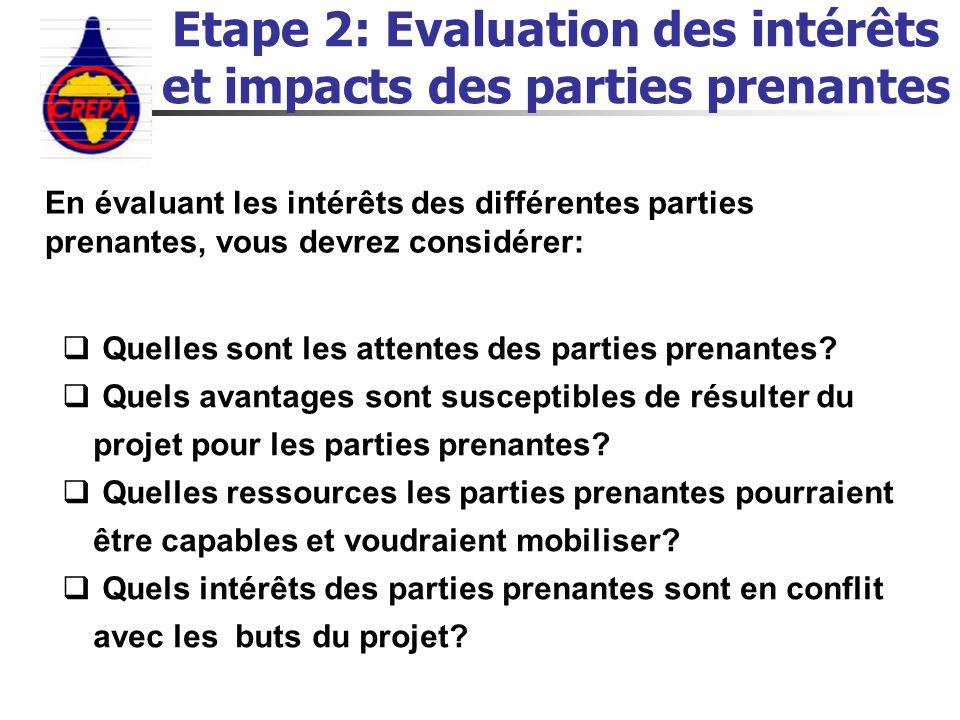 Etape 2: Evaluation des intérêts et impacts des parties prenantes En évaluant les intérêts des différentes parties prenantes, vous devrez considérer: