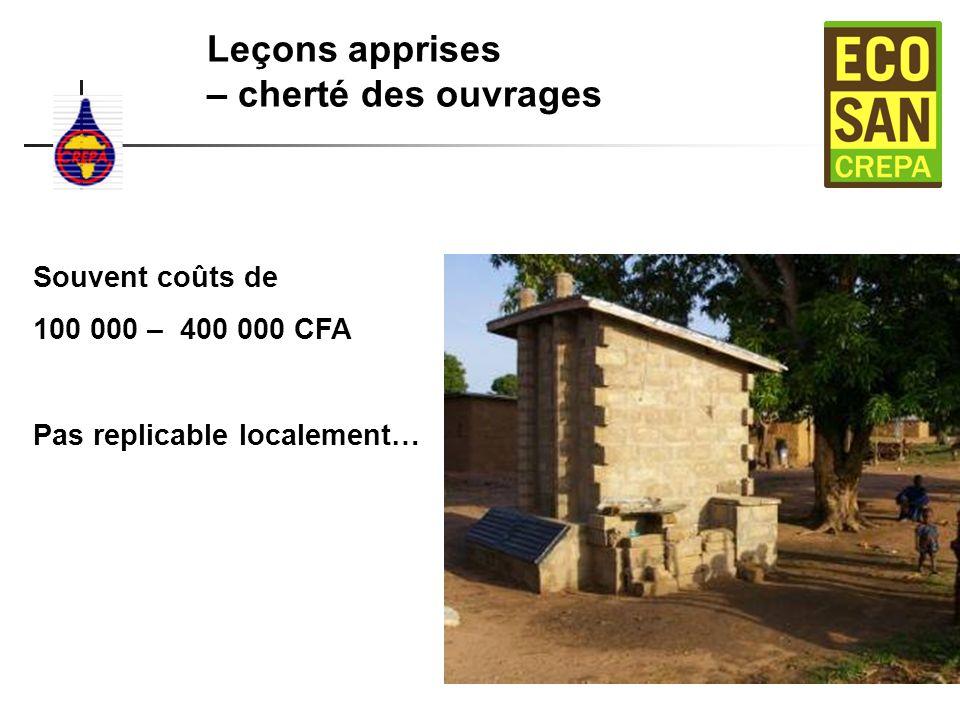 Leçons apprises – cherté des ouvrages Souvent coûts de 100 000 – 400 000 CFA Pas replicable localement…
