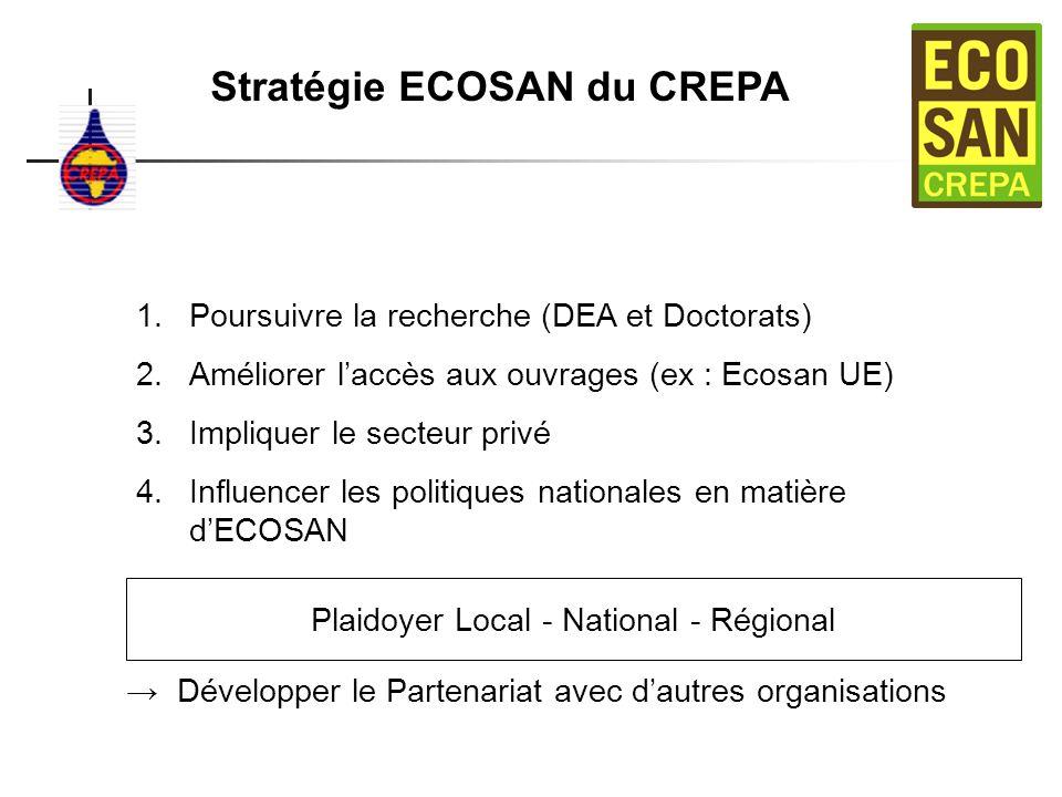 Stratégie ECOSAN du CREPA 1.Poursuivre la recherche (DEA et Doctorats) 2.Améliorer laccès aux ouvrages (ex : Ecosan UE) 3.Impliquer le secteur privé 4