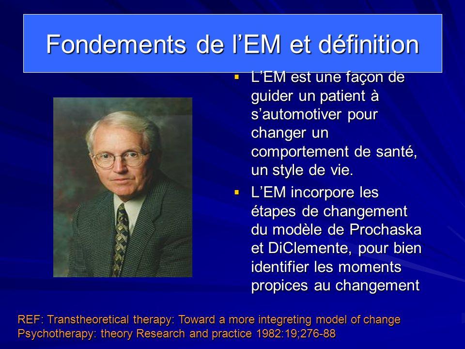 Fondements de lEM et définition LEM est une façon de guider un patient à sautomotiver pour changer un comportement de santé, un style de vie. LEM est