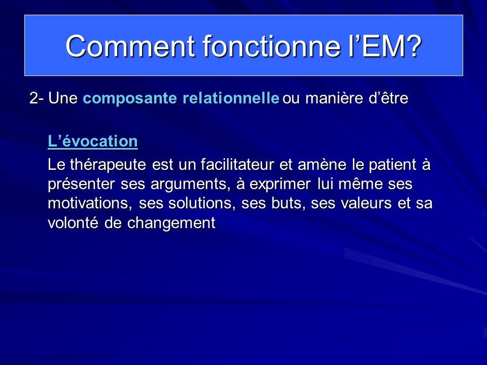 Comment fonctionne lEM? 2- Une composante relationnelle ou manière dêtre Lévocation Le thérapeute est un facilitateur et amène le patient à présenter