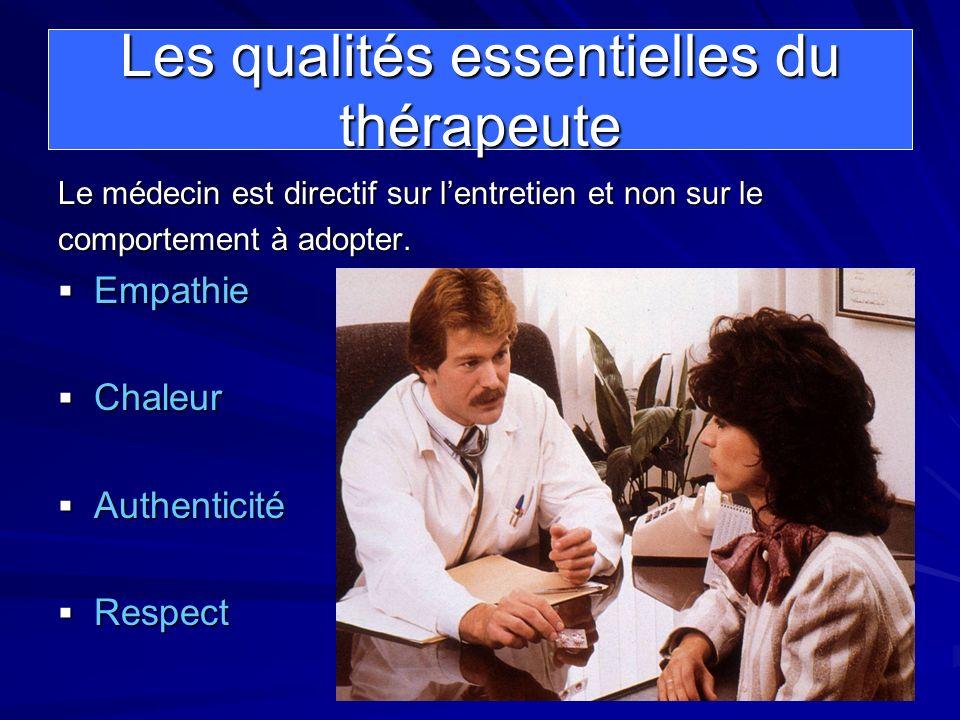 Les qualités essentielles du thérapeute Le médecin est directif sur lentretien et non sur le comportement à adopter. Empathie Empathie Chaleur Chaleur