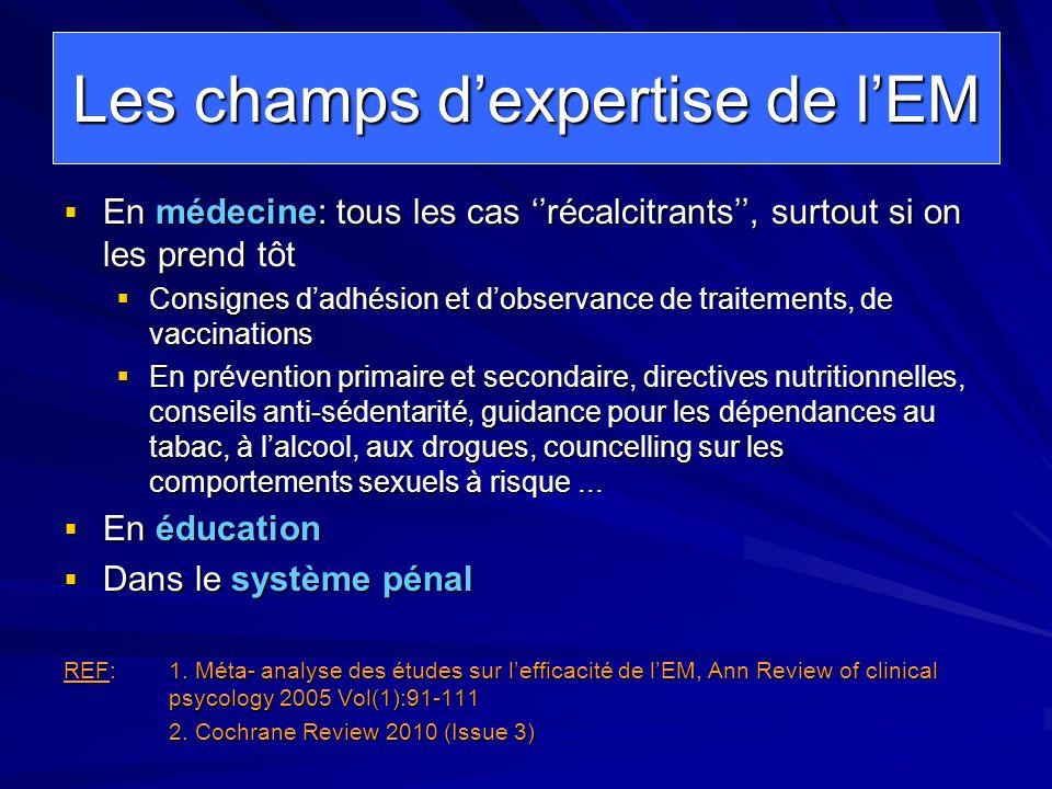 Les champs dexpertise de lEM En médecine: tous les cas récalcitrants, surtout si on les prend tôt En médecine: tous les cas récalcitrants, surtout si