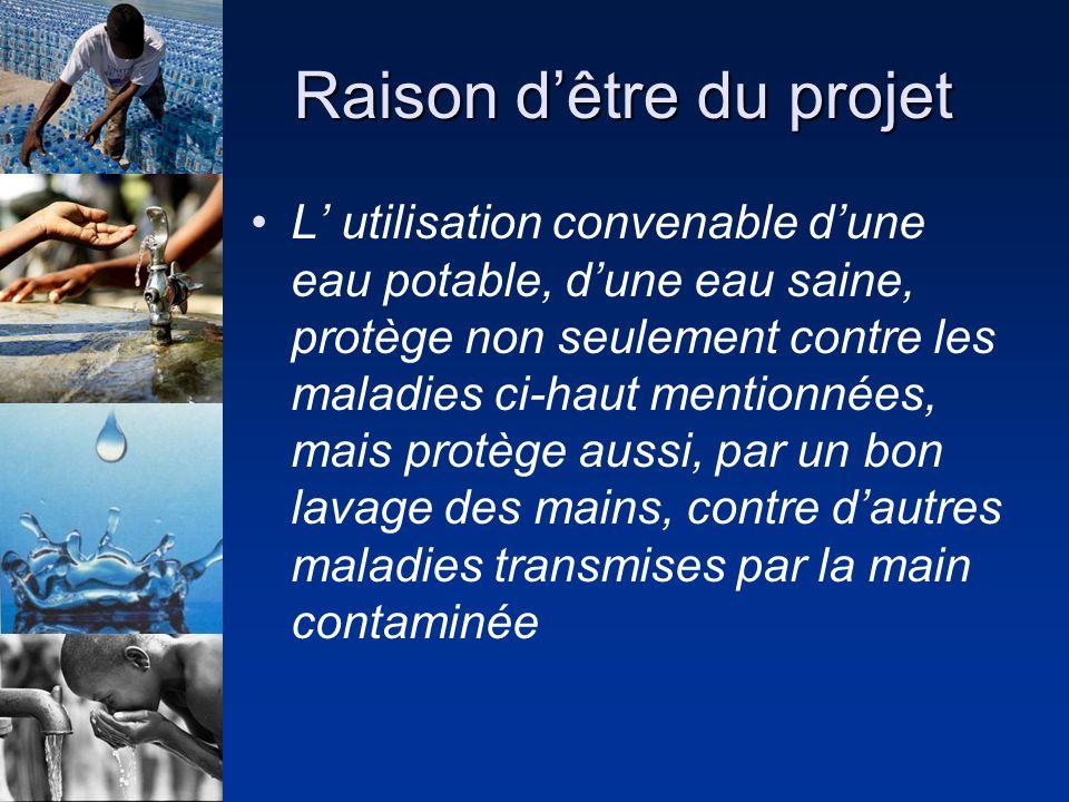 Raison dêtre du projet L utilisation convenable dune eau potable, dune eau saine, protège non seulement contre les maladies ci-haut mentionnées, mais