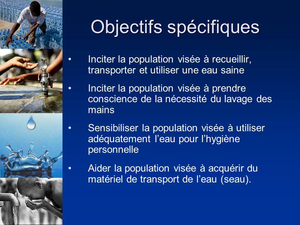 Objectifs spécifiques Inciter la population visée à recueillir, transporter et utiliser une eau saine Inciter la population visée à prendre conscience