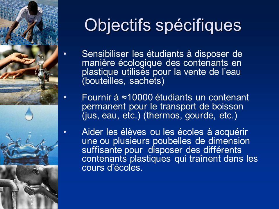 Objectifs spécifiques Sensibiliser les étudiants à disposer de manière écologique des contenants en plastique utilisés pour la vente de leau (bouteill