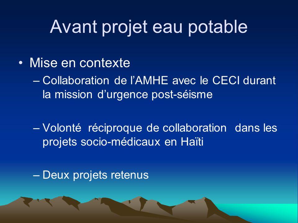 Avant projet eau potable Mise en contexte –Collaboration de lAMHE avec le CECI durant la mission durgence post-séisme –Volonté réciproque de collaboration dans les projets socio-médicaux en Haïti –Deux projets retenus