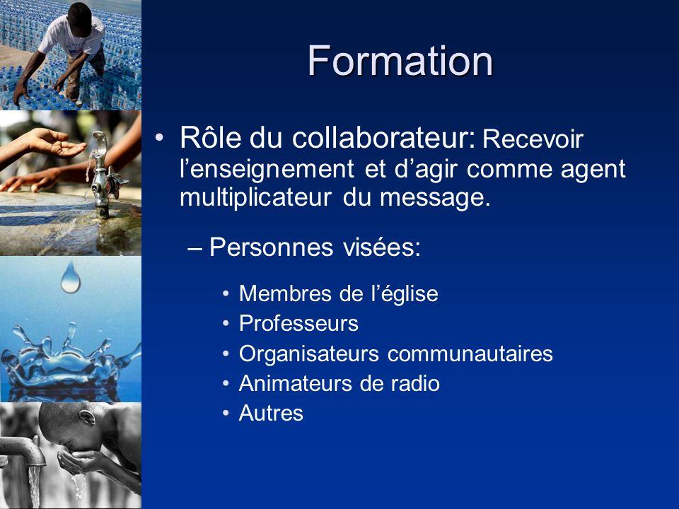 Formation Rôle du collaborateur: Recevoir lenseignement et dagir comme agent multiplicateur du message. –Personnes visées: Membres de léglise Professe