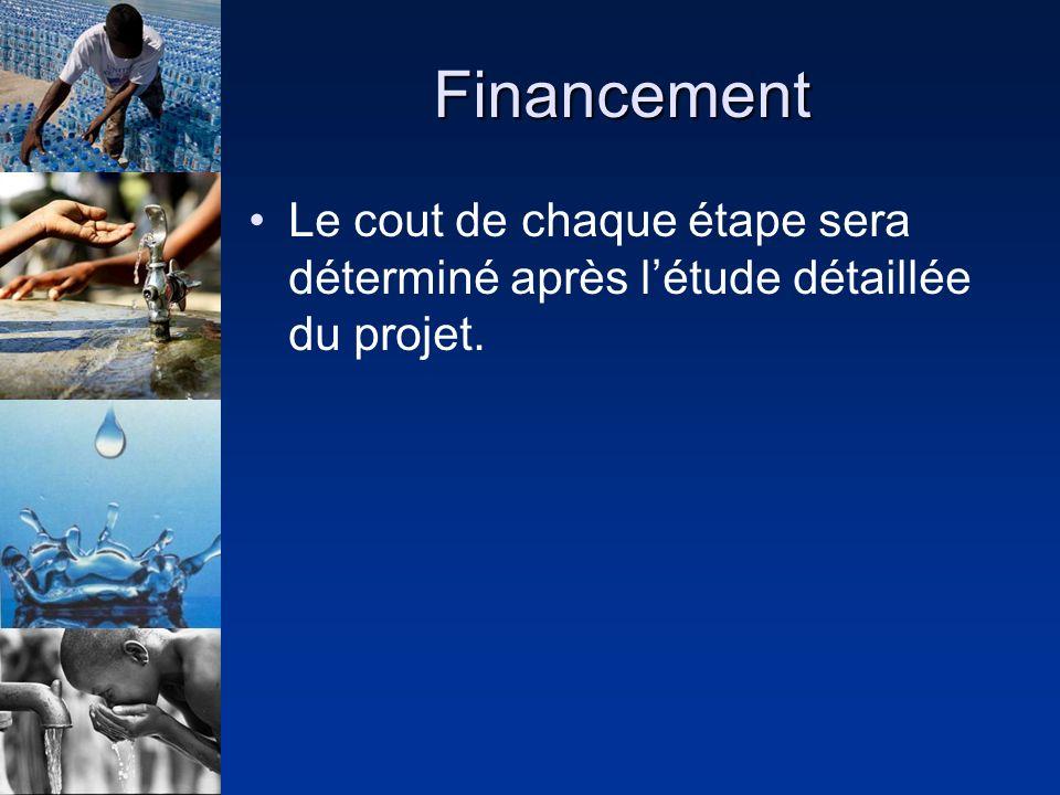 Financement Le cout de chaque étape sera déterminé après létude détaillée du projet.