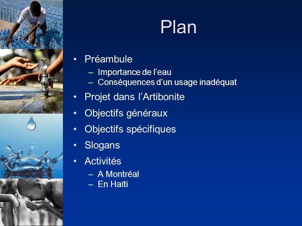 Plan Préambule –Importance de leau –Conséquences dun usage inadéquat Projet dans lArtibonite Objectifs généraux Objectifs spécifiques Slogans Activités –A Montréal –En Haïti
