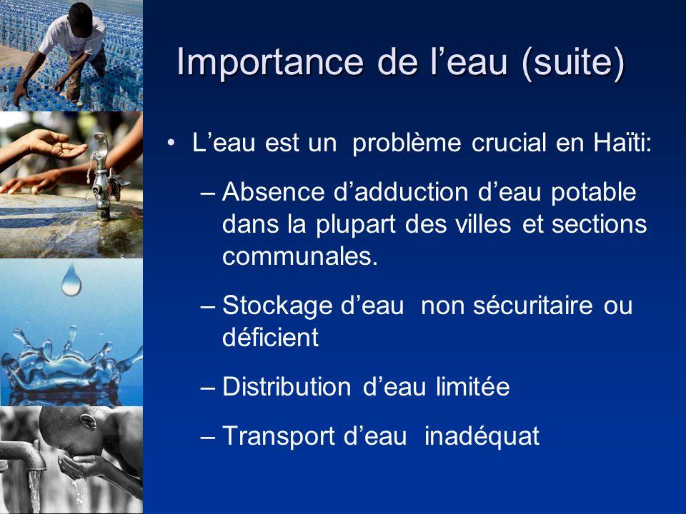 Importance de leau (suite) Leau est un problème crucial en Haïti: –Absence dadduction deau potable dans la plupart des villes et sections communales.