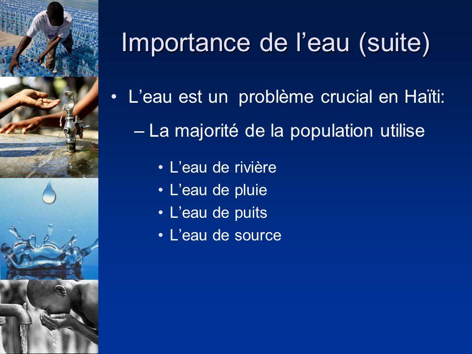 Importance de leau (suite) Leau est un problème crucial en Haïti: –La majorité de la population utilise Leau de rivière Leau de pluie Leau de puits Leau de source