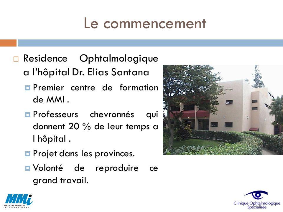 Le commencement Residence Ophtalmologique a lhôpital Dr. Elias Santana Premier centre de formation de MMI. Professeurs chevronnés qui donnent 20 % de