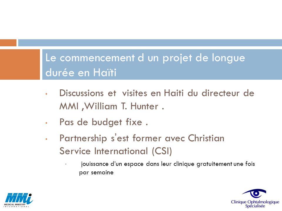 Discussions et visites en Haiti du directeur de MMI,William T. Hunter. Pas de budget fixe. Partnership sest former avec Christian Service Internationa