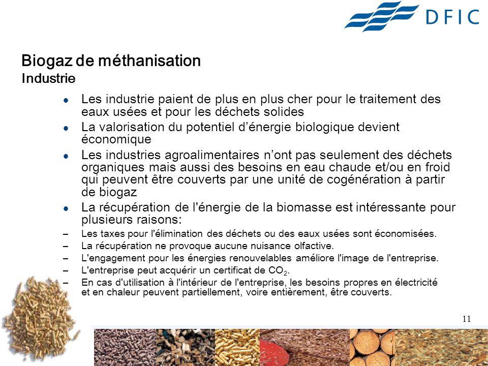 11 Biogaz de méthanisation Industrie Les industrie paient de plus en plus cher pour le traitement des eaux usées et pour les déchets solides La valorisation du potentiel dénergie biologique devient économique Les industries agroalimentaires nont pas seulement des déchets organiques mais aussi des besoins en eau chaude et/ou en froid qui peuvent être couverts par une unité de cogénération à partir de biogaz La récupération de l énergie de la biomasse est intéressante pour plusieurs raisons: –Les taxes pour l élimination des déchets ou des eaux usées sont économisées.