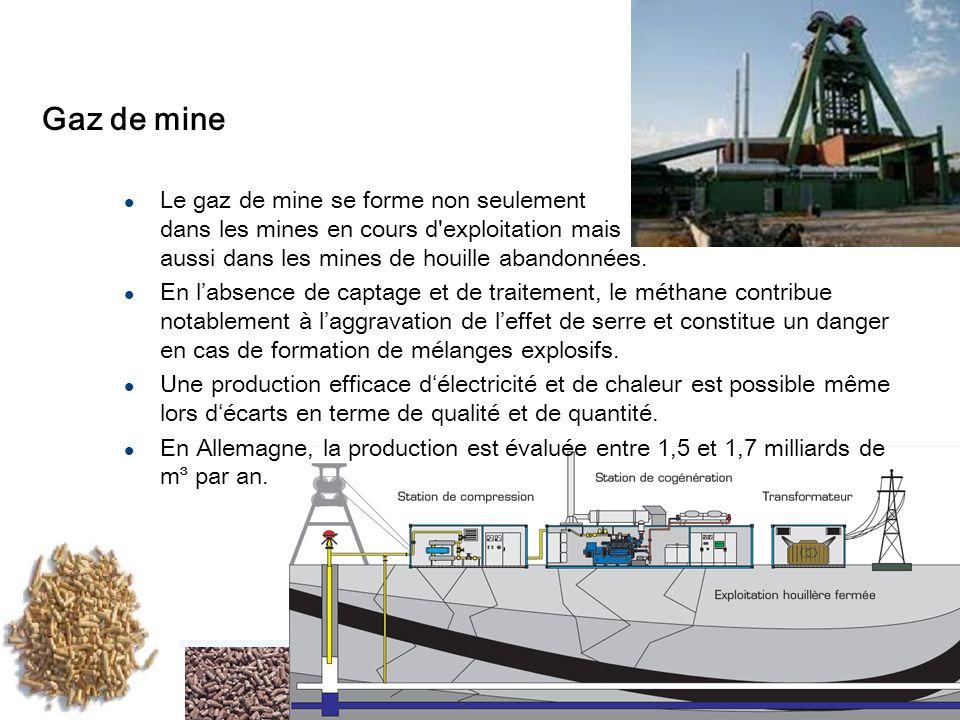 17 Gaz de mine Le gaz de mine se forme non seulement dans les mines en cours d exploitation mais aussi dans les mines de houille abandonnées.