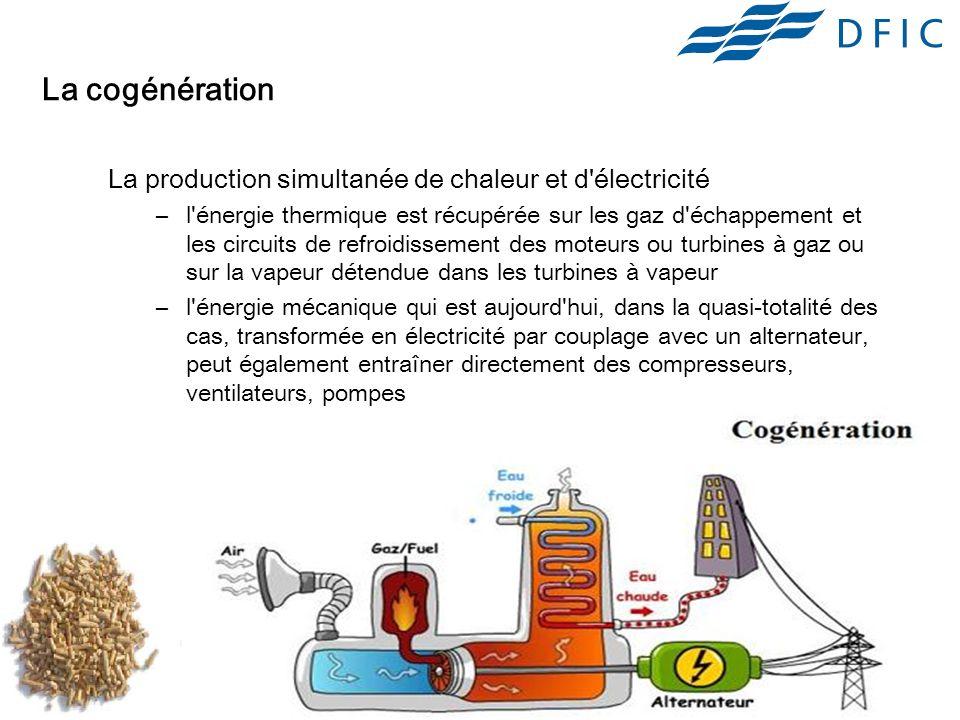 18 La cogénération La production simultanée de chaleur et d électricité –l énergie thermique est récupérée sur les gaz d échappement et les circuits de refroidissement des moteurs ou turbines à gaz ou sur la vapeur détendue dans les turbines à vapeur –l énergie mécanique qui est aujourd hui, dans la quasi-totalité des cas, transformée en électricité par couplage avec un alternateur, peut également entraîner directement des compresseurs, ventilateurs, pompes