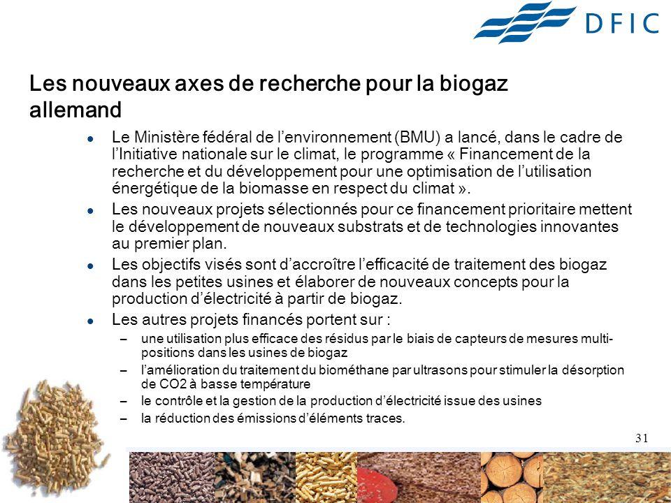 31 Les nouveaux axes de recherche pour la biogaz allemand Le Ministère fédéral de lenvironnement (BMU) a lancé, dans le cadre de lInitiative nationale sur le climat, le programme « Financement de la recherche et du développement pour une optimisation de lutilisation énergétique de la biomasse en respect du climat ».