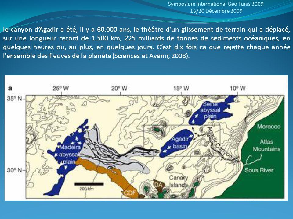 Symposium International Géo Tunis 2009 16/20 Décembre 2009 le canyon dAgadir a été, il y a 60.000 ans, le théâtre dun glissement de terrain qui a dépl