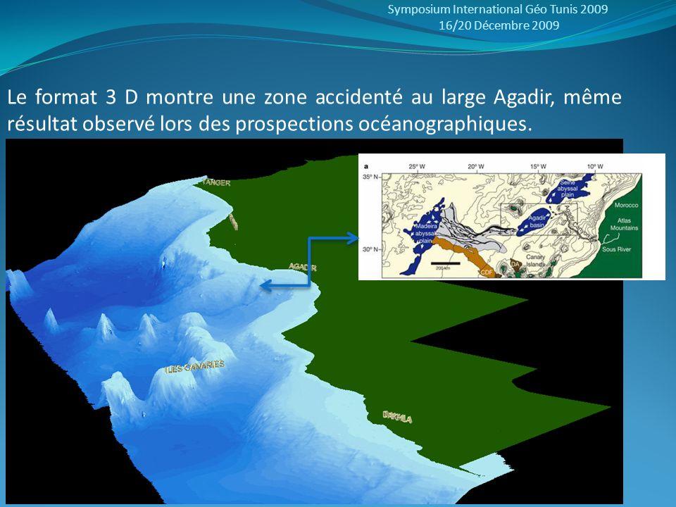 Symposium International Géo Tunis 2009 16/20 Décembre 2009 Le format 3 D montre une zone accidenté au large Agadir, même résultat observé lors des pro