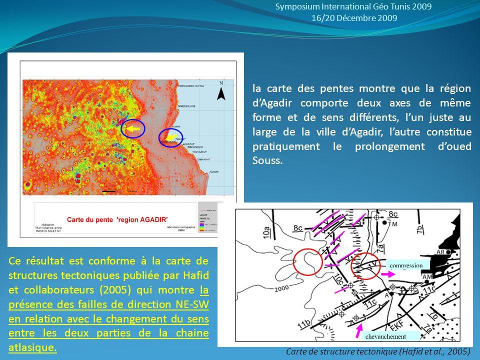 Symposium International Géo Tunis 2009 16/20 Décembre 2009 Carte de structure tectonique (Hafid et al., 2005) la carte des pentes montre que la région