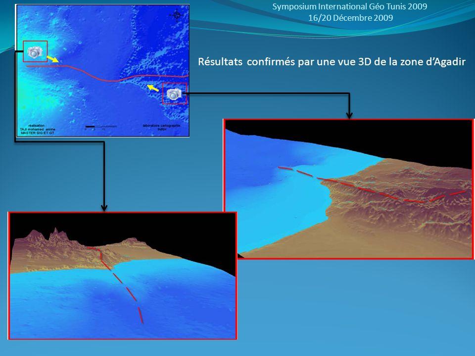 Symposium International Géo Tunis 2009 16/20 Décembre 2009 Résultats confirmés par une vue 3D de la zone dAgadir
