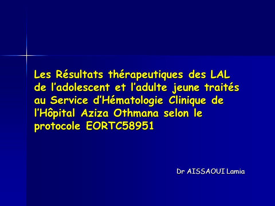 Les Résultats thérapeutiques des LAL de ladolescent et ladulte jeune traités au Service dHématologie Clinique de lHôpital Aziza Othmana selon le proto