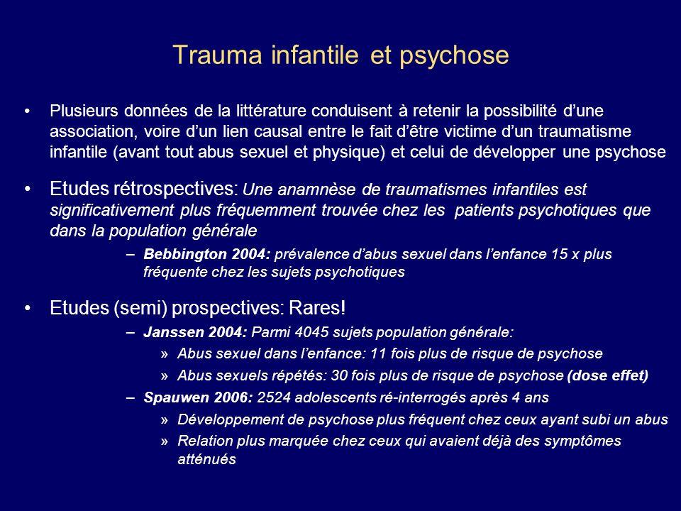 Trauma infantile et psychose Plusieurs données de la littérature conduisent à retenir la possibilité dune association, voire dun lien causal entre le