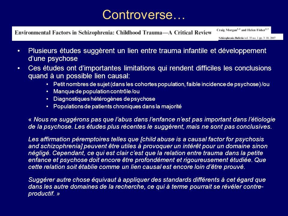 Controverse… Plusieurs études suggèrent un lien entre trauma infantile et développement dune psychose Ces études ont dimportantes limitations qui rend
