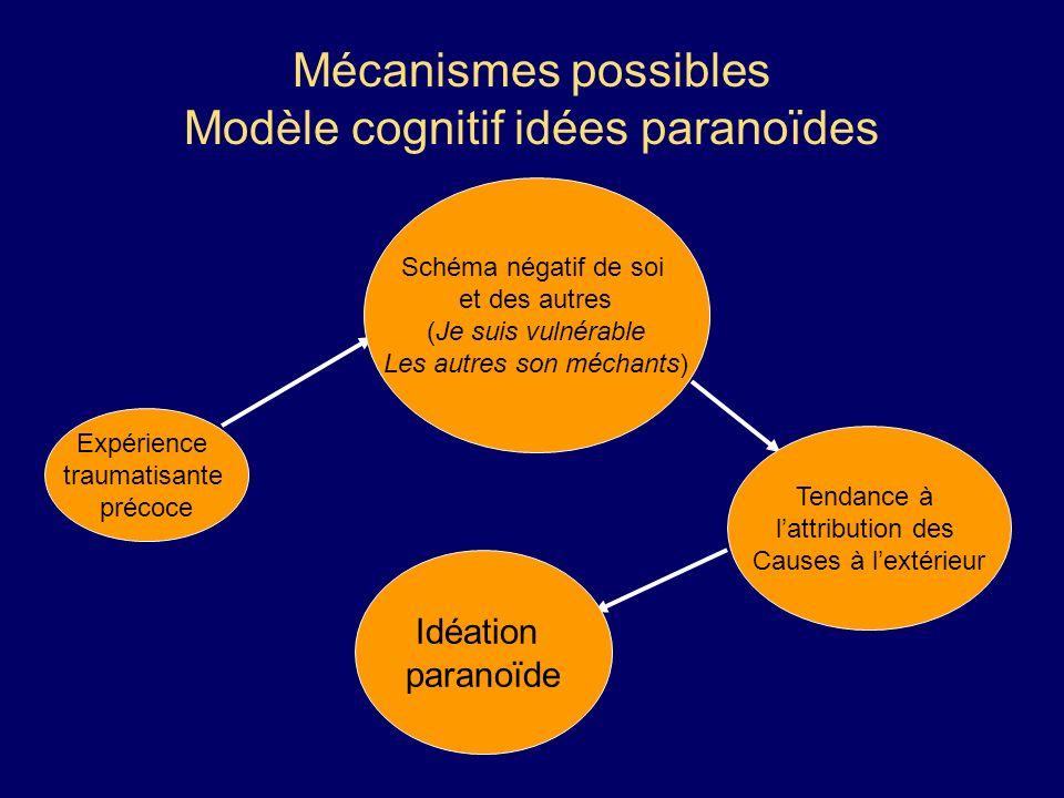 Mécanismes possibles Modèle cognitif idées paranoïdes Expérience traumatisante précoce Schéma négatif de soi et des autres (Je suis vulnérable Les aut