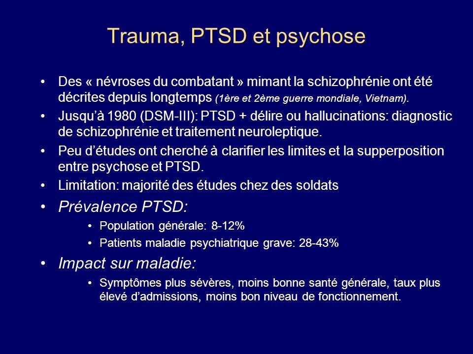 Trauma, PTSD et psychose Des « névroses du combatant » mimant la schizophrénie ont été décrites depuis longtemps (1ère et 2ème guerre mondiale, Vietna