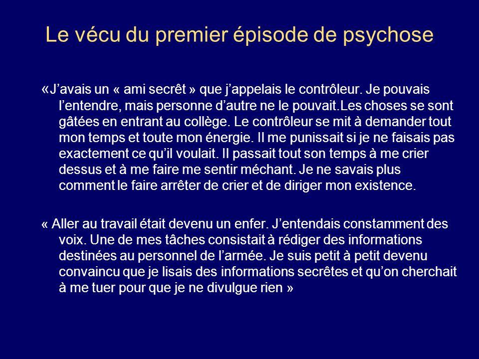 Le vécu du premier épisode de psychose « Javais un « ami secrêt » que jappelais le contrôleur. Je pouvais lentendre, mais personne dautre ne le pouvai