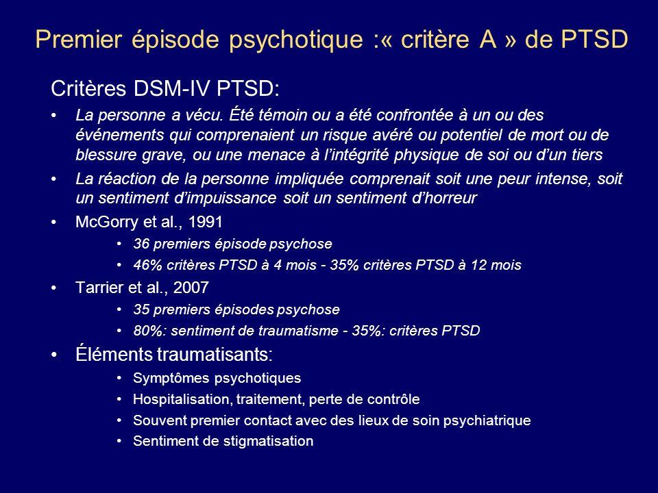 Premier épisode psychotique :« critère A » de PTSD Critères DSM-IV PTSD: La personne a vécu. Été témoin ou a été confrontée à un ou des événements qui