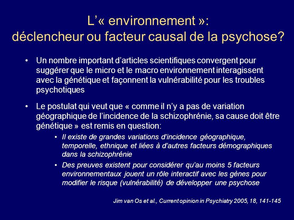 L« environnement »: déclencheur ou facteur causal de la psychose? Un nombre important darticles scientifiques convergent pour suggérer que le micro et