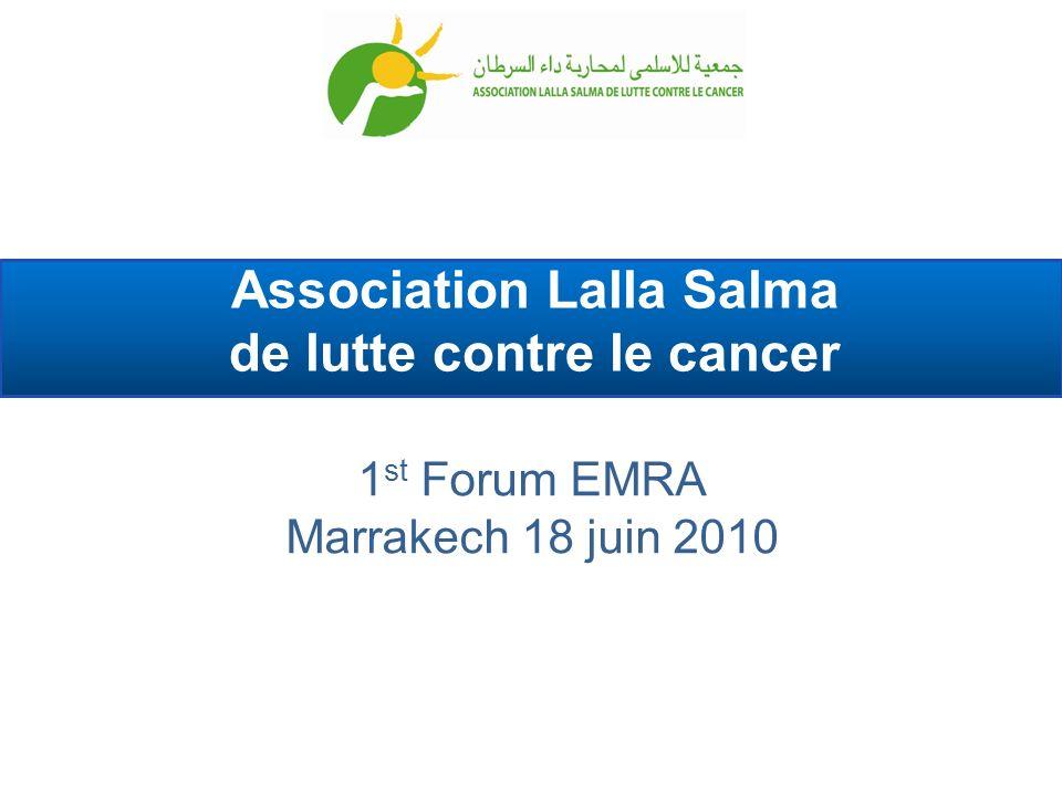 > Données au Maroc > Au Maroc (données 2004) : 30 000 nouveaux cas par an, dont 1 200 enfants (4%) Le cancer serait responsable de 7,2% des décès Femmes : cancer du sein (36%), col (13%) Hommes : poumon (24%), prostate (8%) cancer du sein cancer du poumon cancer du col utérin cancer colorectal lymphomes non hodgkiniens cancer de la prostate 1 2 3 4 5 6 2