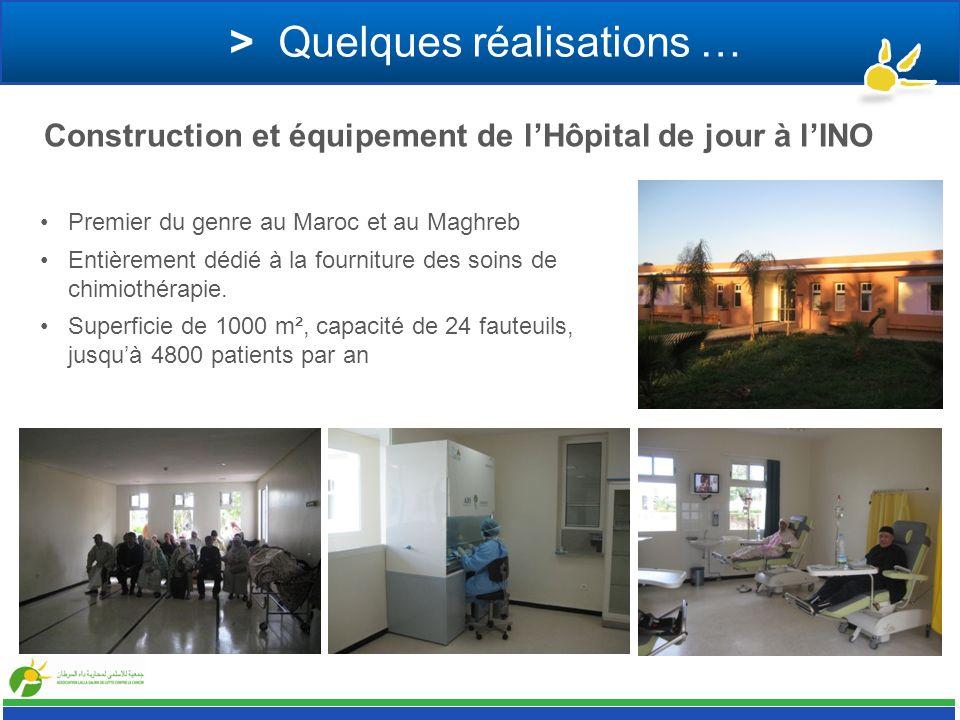 > Quelques réalisations … Premier du genre au Maroc et au Maghreb Entièrement dédié à la fourniture des soins de chimiothérapie. Superficie de 1000 m²