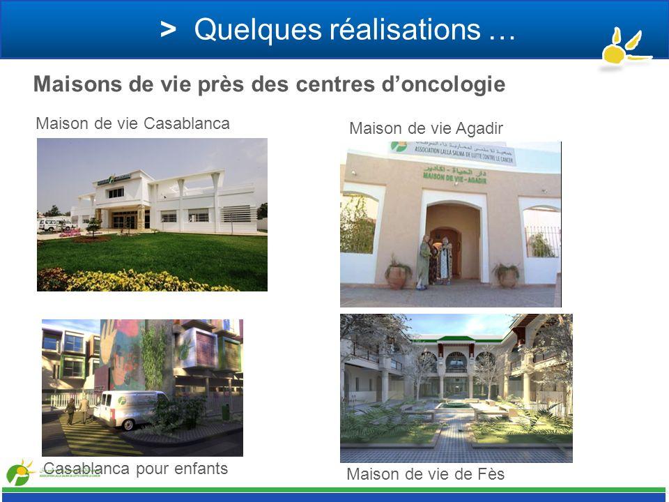 > Quelques réalisations … Maisons de vie près des centres doncologie Maison de vie Agadir Maison de vie Casablanca Maison de vie de Fès Casablanca pou