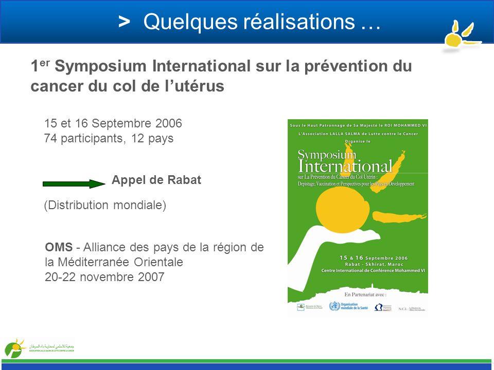 > Quelques réalisations … 1 er Symposium International sur la prévention du cancer du col de lutérus 15 et 16 Septembre 2006 74 participants, 12 pays