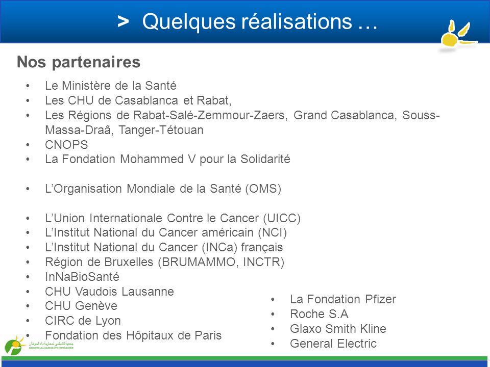 > Quelques réalisations … Le Ministère de la Santé Les CHU de Casablanca et Rabat, Les Régions de Rabat-Salé-Zemmour-Zaers, Grand Casablanca, Souss- M